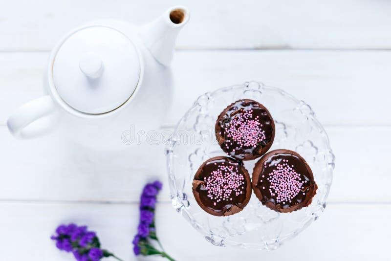 Queques caseiros do chocolate com crosta de gelo foto de stock royalty free
