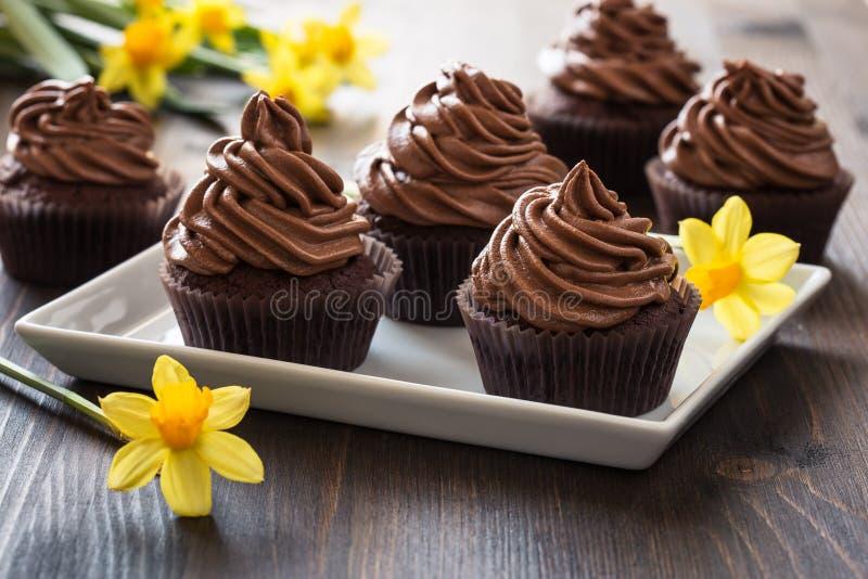 Queques do chocolate do dia de mães com flores da mola imagem de stock royalty free