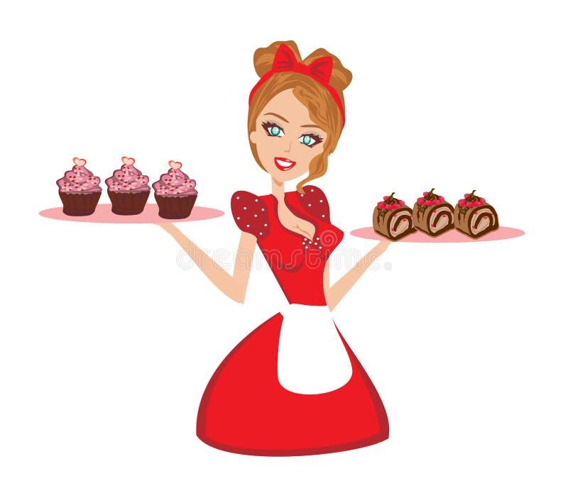 Queques do chocolate do serviço da dona de casa de Pin Up ilustração do vetor