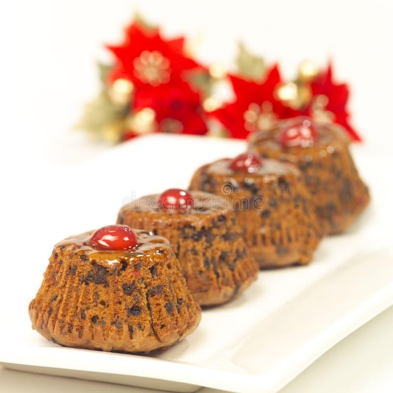 Queques do Natal da microplaqueta de chocolate imagens de stock royalty free