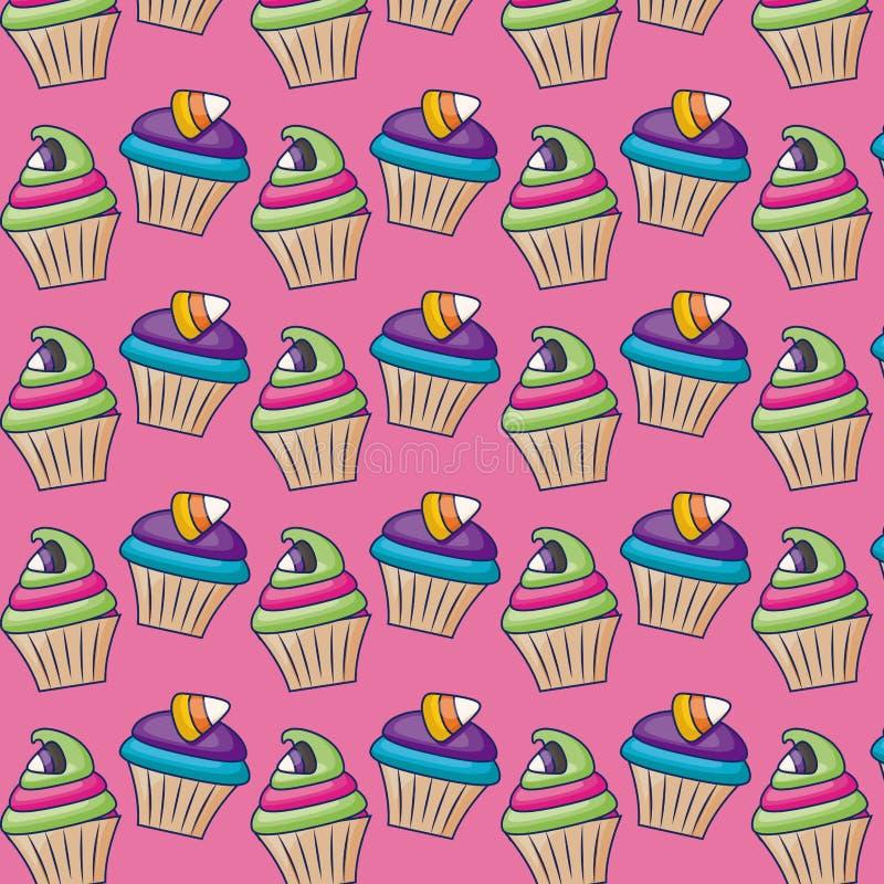 Queques doces com teste padrão dos doces ilustração do vetor