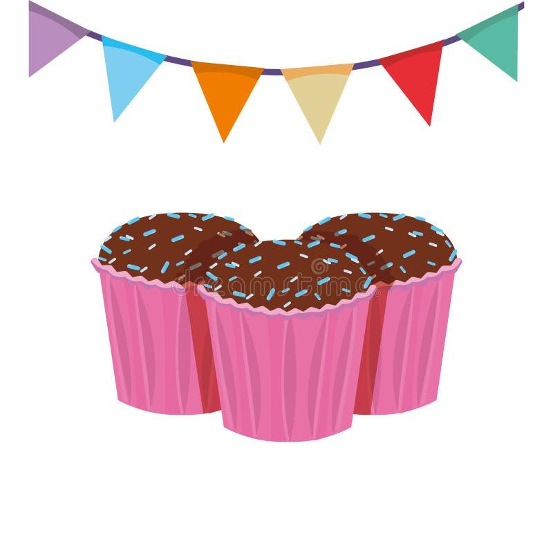 Queques e festão do aniversário da celebração ilustração stock