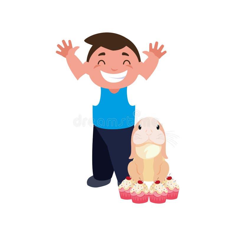 Queques felizes do coelho do menino ilustração stock