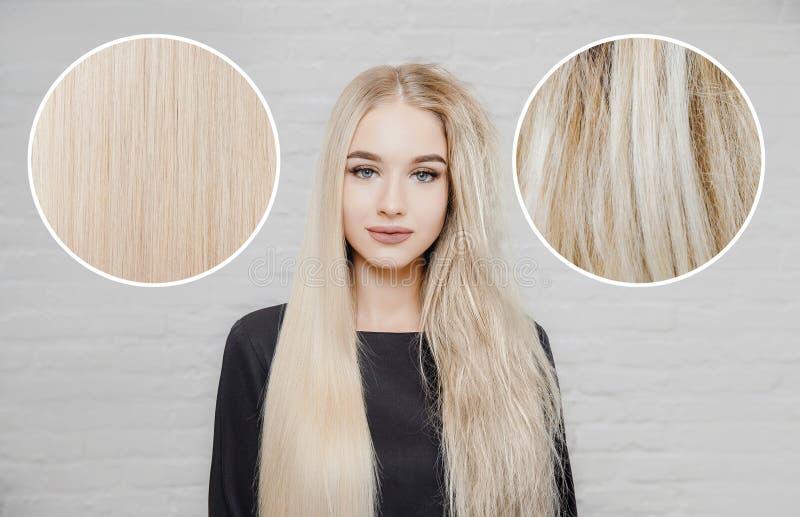 Queratina para el cuidado del cabello enferma, cortada y saludable Antes y después del tratamiento fondo blanco fotografía de archivo libre de regalías