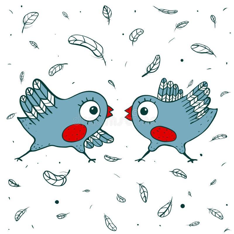 Querelle d'oiseaux illustration stock