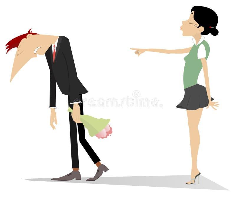 Querelle entre l'homme et l'illustration de femme illustration de vecteur