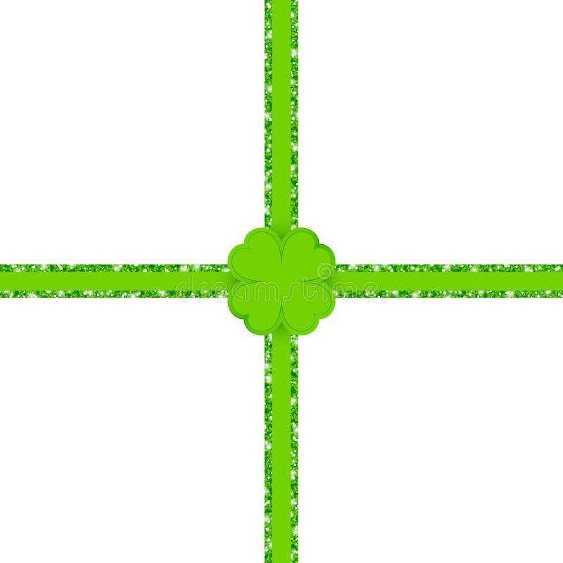 Querfunkeln-Band-grüner Klee-Blatt-Glanz vektor abbildung