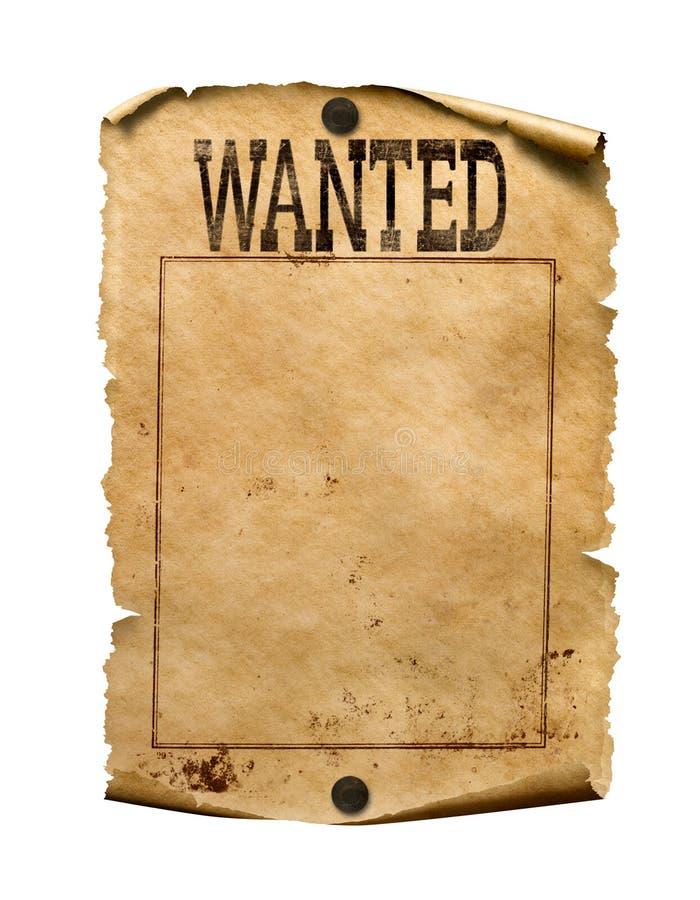 Querido para el ejemplo del cartel 3d de la recompensa aislado imagen de archivo libre de regalías