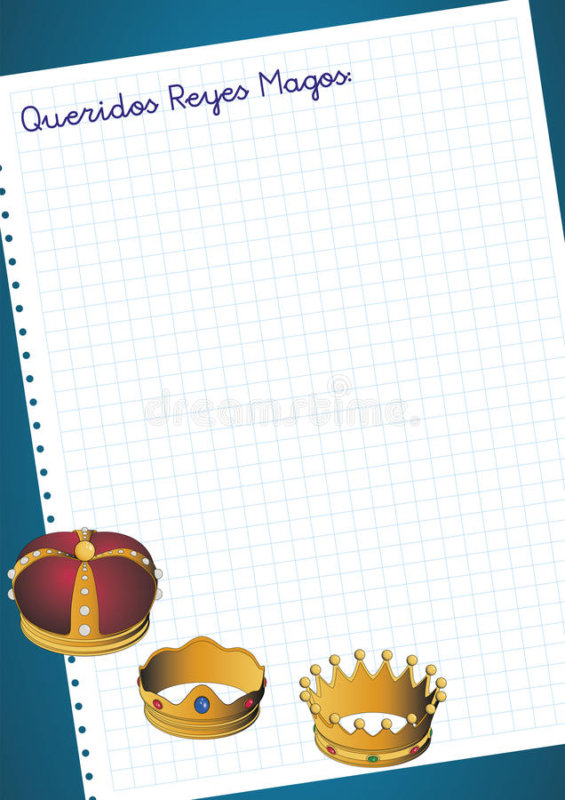 Queridos reyes magos letter to three wise men. Or three orient kings. Spanish tradition on january, 6 where the three wise men receive letters from children and stock illustration