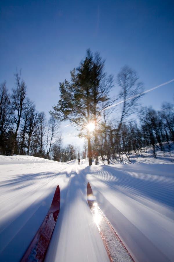 Querland-Skifahren-Bewegung lizenzfreie stockfotos