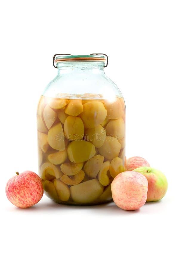 Querneigung des Apfelkompotts lizenzfreie stockfotografie