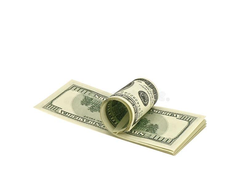 Querneigung-Rolle von hundert Dollarscheinen lizenzfreies stockfoto