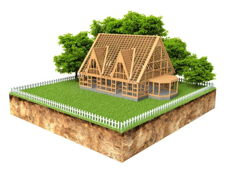 Querschnitt Boden mit einem neuen Haus im Bau lizenzfreie abbildung