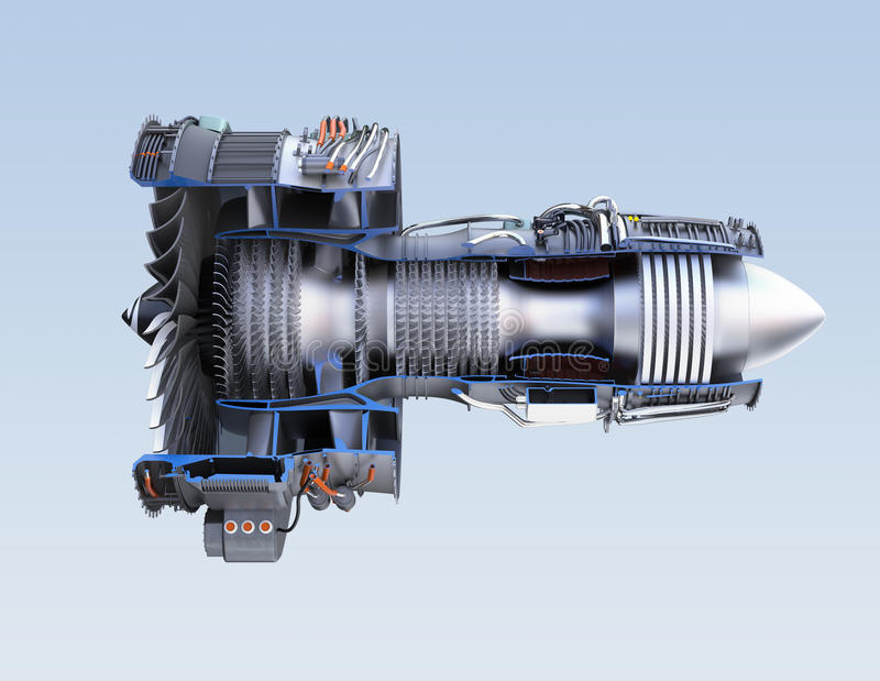 Querschnitt von Turbinen-Kreiselbegläse Strahltriebwerk lokalisiert auf hellblauem Hintergrund lizenzfreie abbildung