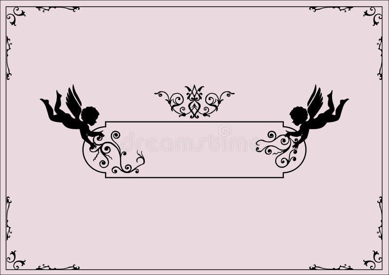 Querubes y schrolls ilustración del vector