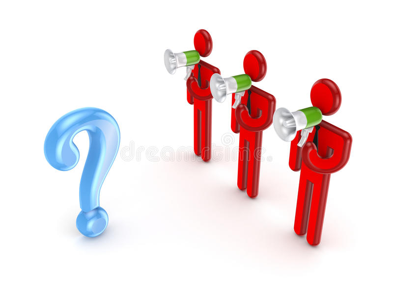 Query mark and 3d small people with megaphones. stock illustration