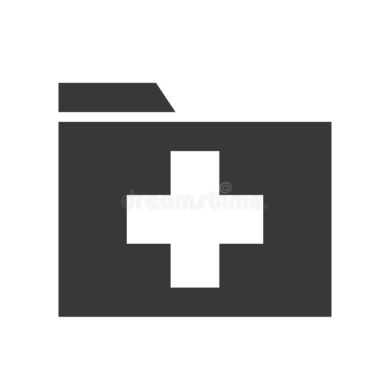 Querzeichen auf Ordner, Gesundheitswesen und medizinischer in Verbindung stehender fester Ikone lizenzfreie abbildung