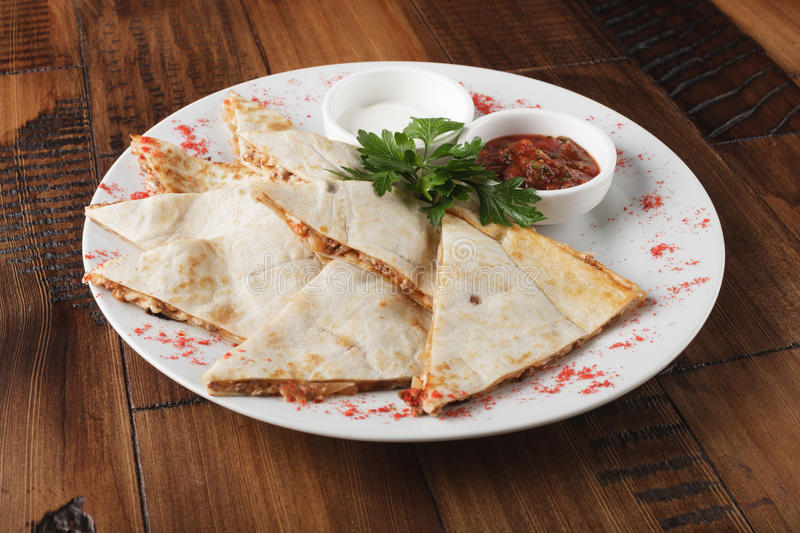 Quesadilla with chicken stock image