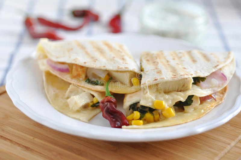 Download Quesadilla With Chicken, Chili Pepper And Corn Stock Image - Image of dinner, diced: 32902891