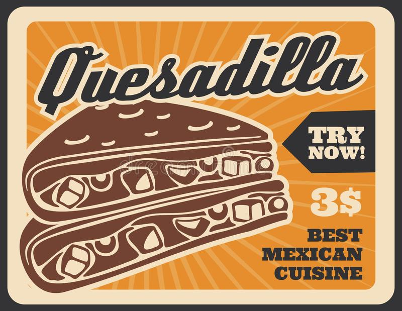 Quesadilla fastfood Mexican menu retro poster stock illustration