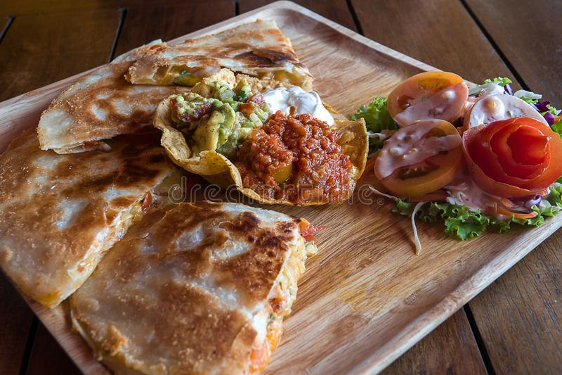 Quesadilla Mexican food. The colorful appetizer stock image