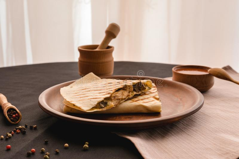 Quesadilla Mexican food. Mexican cuisine quesadilla for breakfast stock photography