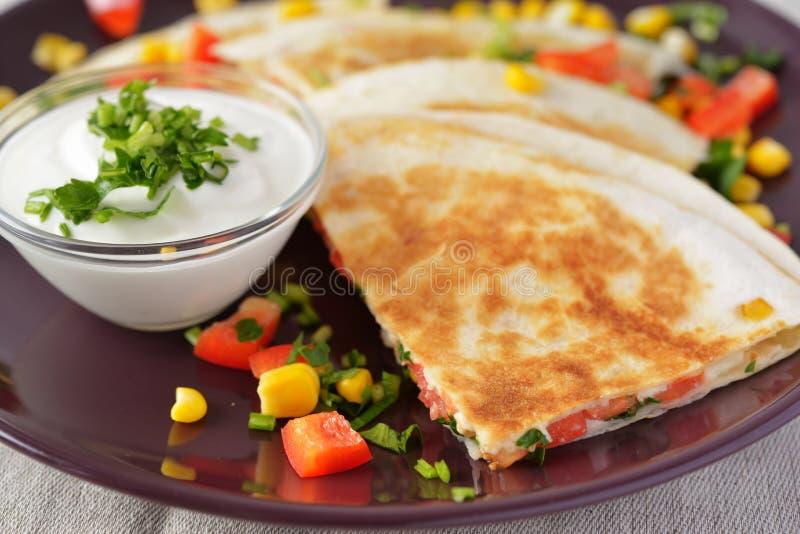 Quesadilla végétarien photo stock