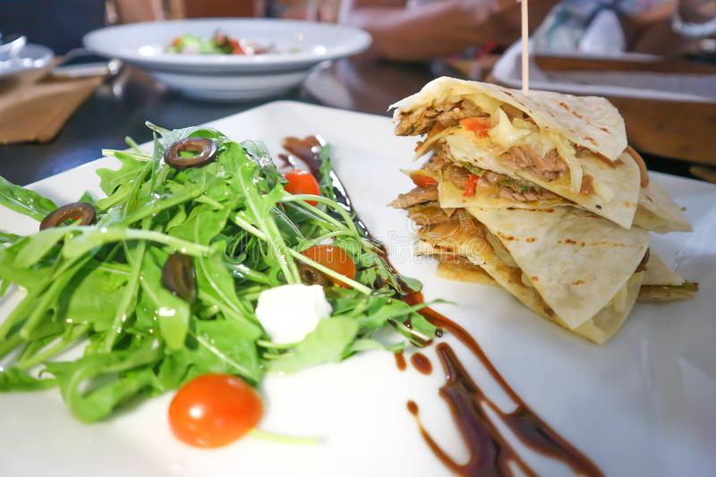 Quesadillas or Mexican pizza royalty free stock image
