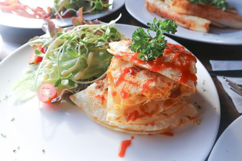 Quesadillas or Tortilla with egg stock photos