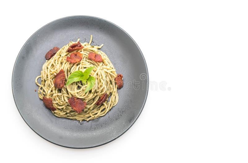 queso cremoso de los espaguetis con tocino fotografía de archivo libre de regalías