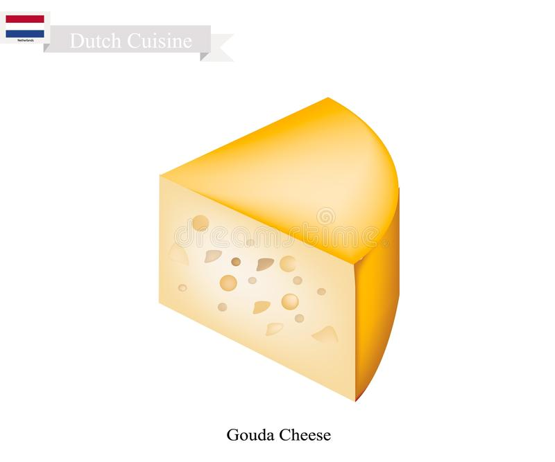 Queso de Gouda, un plato tradicional de Países Bajos stock de ilustración