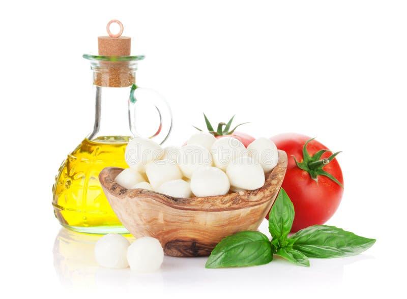 Queso de la mozzarella, aceite de oliva, tomate y albahaca fotos de archivo