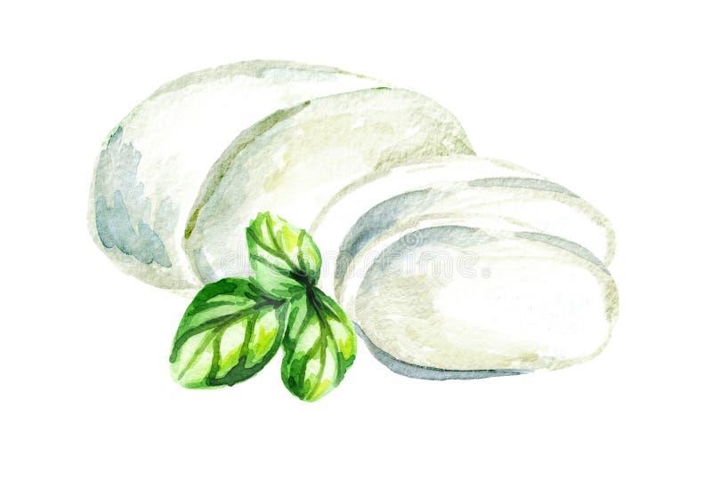 Queso de la mozzarella Ejemplo dibujado mano de la acuarela, aislado en el fondo blanco libre illustration