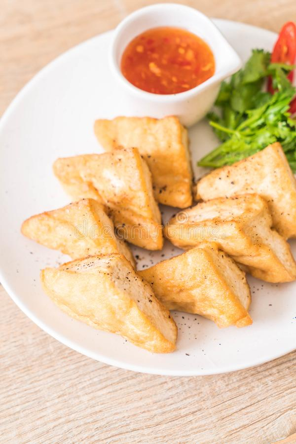 queso de soja frito - comida del vegano foto de archivo