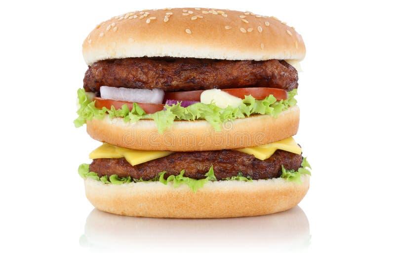 Queso doble de la hamburguesa de la hamburguesa aislado imagen de archivo libre de regalías