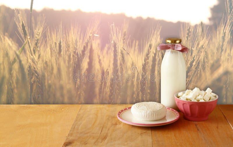 Queso griego, queso búlgaro y leche en la tabla de madera sobre fondo del campo de trigo Símbolos del día de fiesta judío - Shavu fotografía de archivo