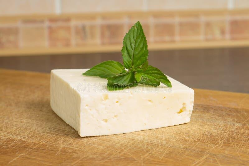 Queso salado blanco con la menta fotografía de archivo libre de regalías