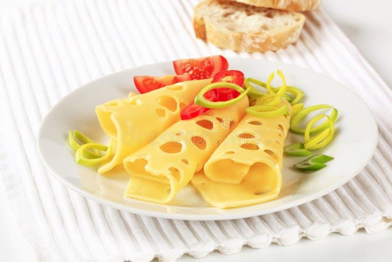 queso suizo Fino-cortado imagen de archivo
