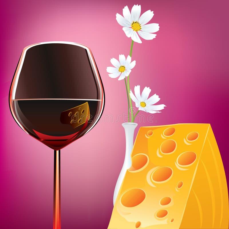 Queso y Margaretas del vino ilustración del vector