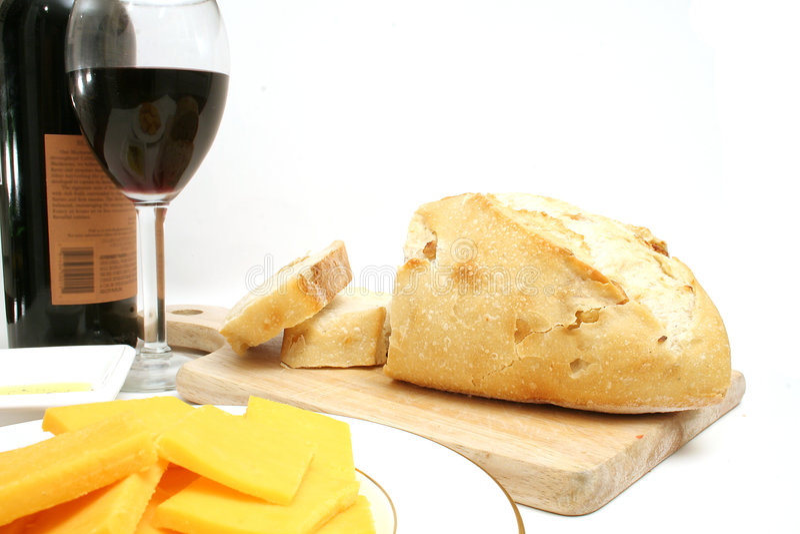 Queso y pan del vino fotografía de archivo libre de regalías
