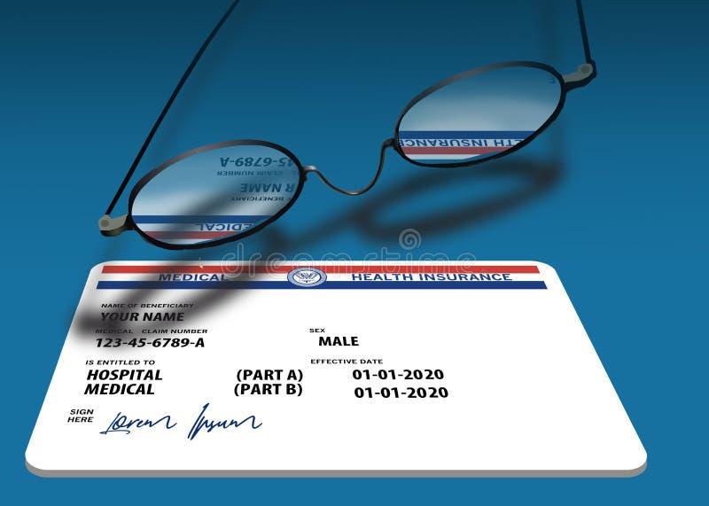 Questa è una finta, generica, tessera sanitaria 2020 Medicare Health Insurance fotografia stock libera da diritti