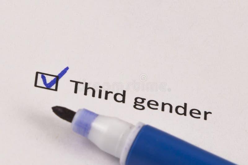 Questionário, avaliação Caixa verificada com gênero da inscrição em terceiro lugar e o marcador azul imagens de stock