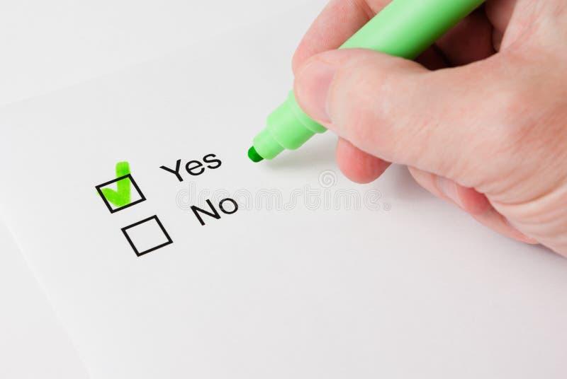 """Questionário com escolhas. """"Sim"""" imagens de stock royalty free"""