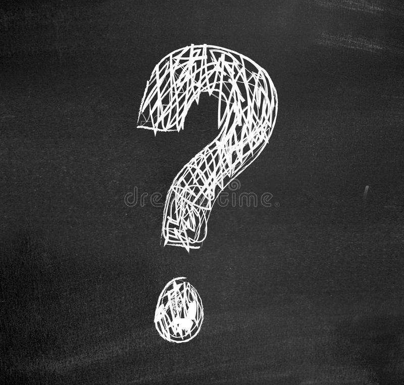 Question. Drawn on a blackboard with chalk royalty free stock photos