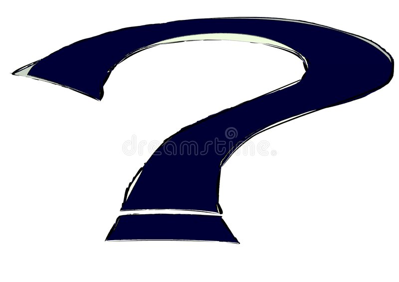 Artistic Question mark isolated in shades of blue stock illustration