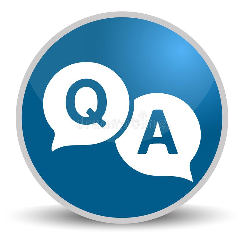 Question answer blue glossy round vector icon in eps 10. Editable modern design internet button on white background royalty free illustration
