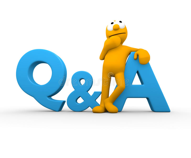Question & Answer. Character leaning on a Q & A thinking vector illustration