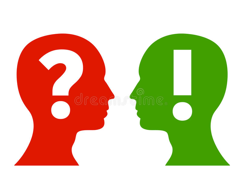 Question and answer concept. Vector illustration with head silhouettes with question mark and exclamation mark. concept design for frequent asked questions on royalty free illustration