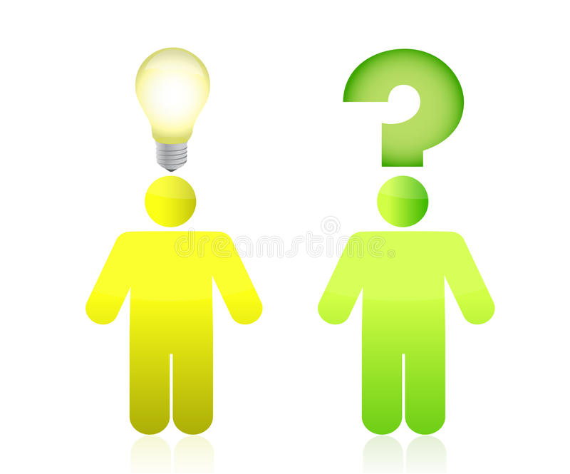 Question and answer, green and yellow color vector illustration