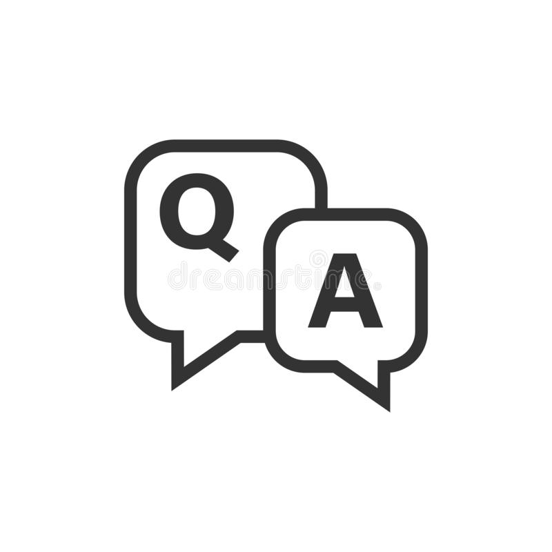 Question and answer icon in flat style. Discussion speech bubble vector illustration